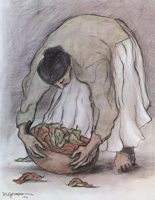 Original Art  Woman With Chile by R.C. Gorman