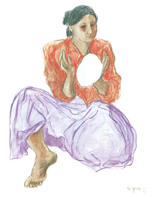 N-252 Woman making Tortillas by R.C. Gorman