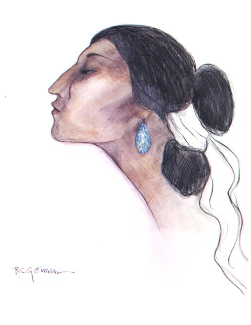 N-262 Original Art Turquoise Earing by R.C. Gorman