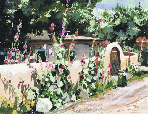 N-389 Taos Hollyhocks by Therese Evangel