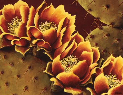 N-520 Rust Flowering Prickly Pear by Beth Zink