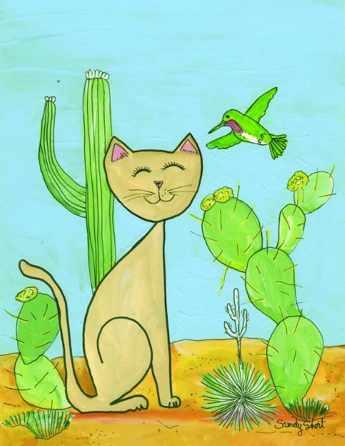 N-582 Desert Cat & Hummingbird by Sandy Short