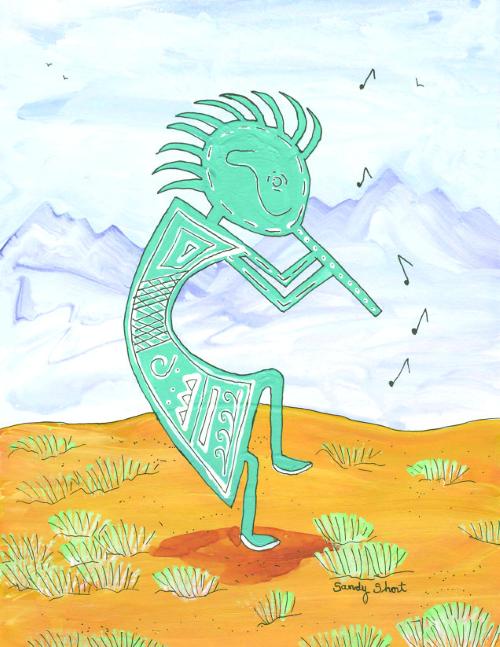N-583 Desert Flute Player by Sandy Short