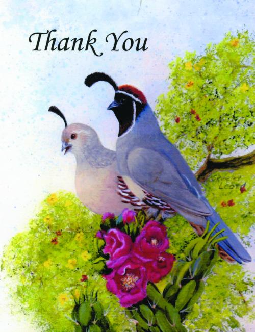 N-640 Thank You (Gambel Quail) by Skeeter Leard