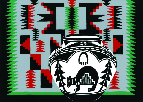 CHR-374 Navajo Rug and Bear Pot by Sandra Townsend