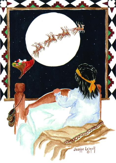 """CHR-382 """"Itsie """"Santa w/reindeer sleigh by Jean'ne Le'mon"""