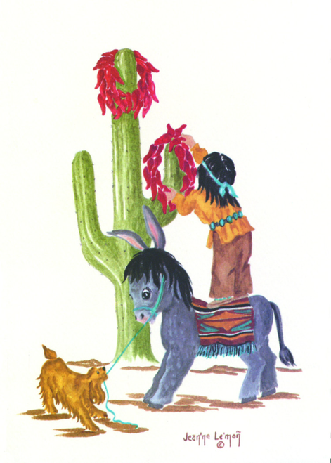 "CHR-383 ""Itsie"" Cactus and Burro by Jean'ne Le'mon"