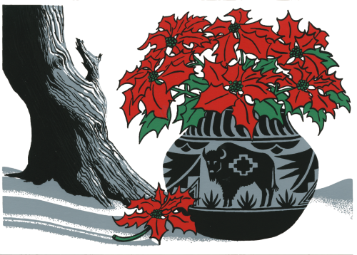 CHR-385 Buffalo Pot with Poinsettia by Sandra Townsend