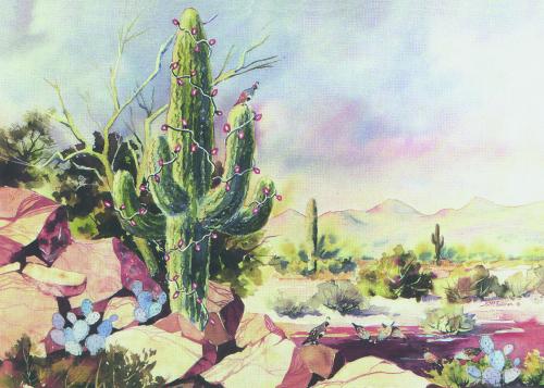 CHR-870 Festive Saguaro by Ann McEachron