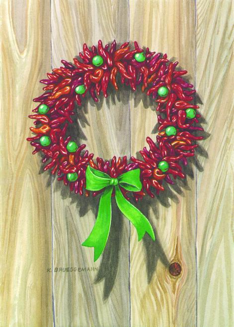 CHR-887 Red Chile Wreath by Karen Brueggemann