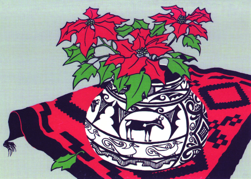 CHR-947 Indian Pot With Poinsettia and Rug designed by Sandra Townsend