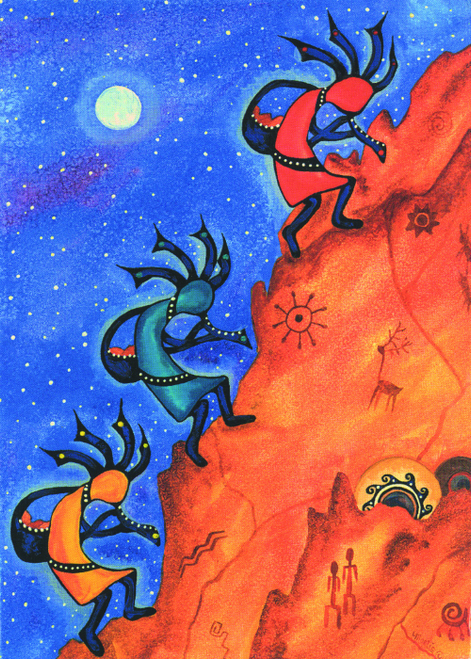 CHR-982 Night Kokopelli's by Martie Hopper Reynolds
