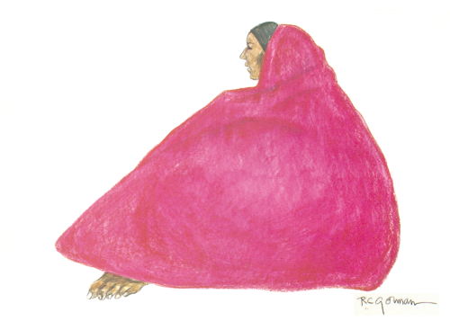 AC-434 Original Art Woman in Pink Shawl by R.C. Gorman