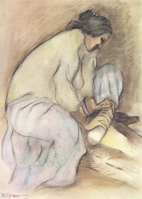 AC-484 Woman Grinding Corn by R.C. Gorman