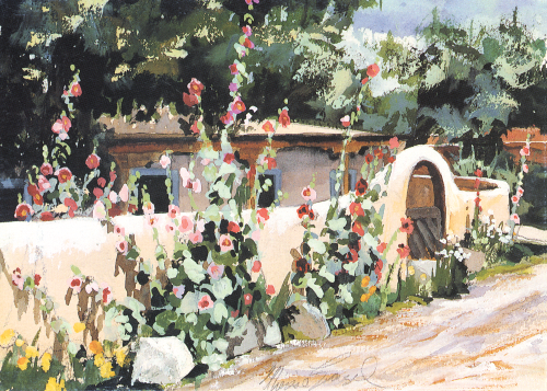 AC-722 Taos Hollyhocks by Therese Evangel