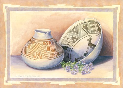 AC-740 Asters and Ancient Pottery by Karen Brueggemann