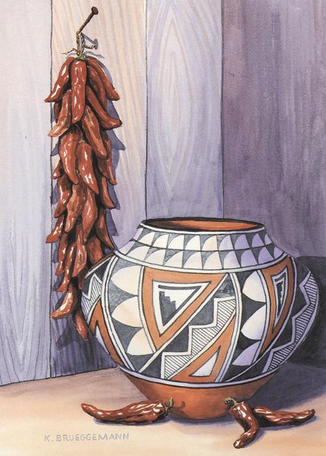 AC-773 Acoma Bowl and Ristra by Karen Brueggemann