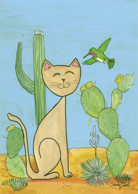 AC-882 Desert Cat and Hummingbird by Sandy Short