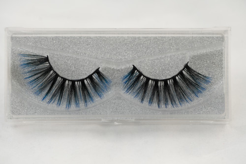 25 mm silk eyelashes, silk lashes, lashes, black, blue, false lashes, strip lashes