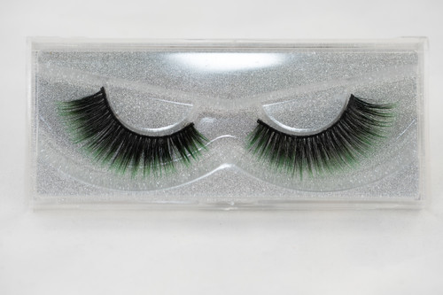 25 mm silk eyelashes, silk lashes, lashes, black, green, false lashes, strip lashes