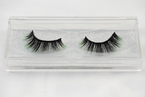 25 mm silk eyelashes, lashes, black, green, false eyelashes, strip lashes