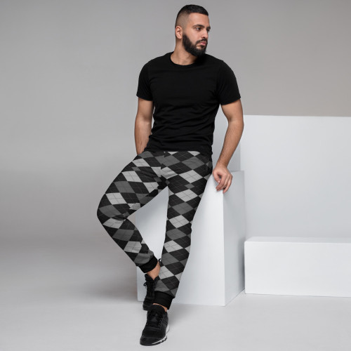 Men's Joggers -- Black and Gray Argyle