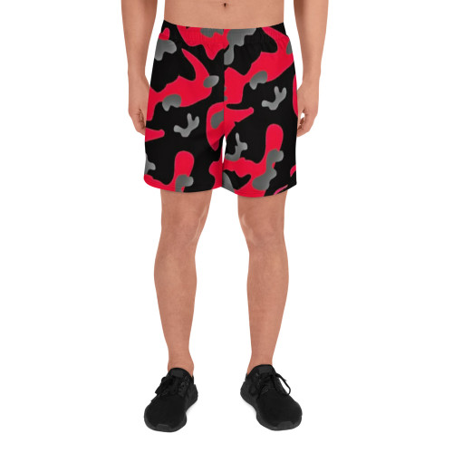 Red and Black Men's Athletic Long Shorts