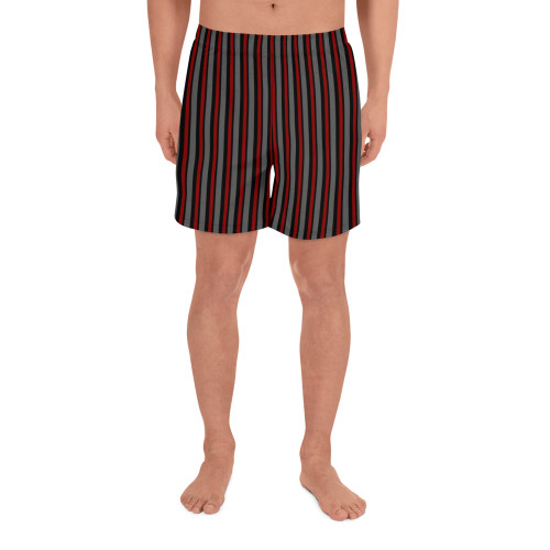 Dark Striped Men's Athletic Long Shorts