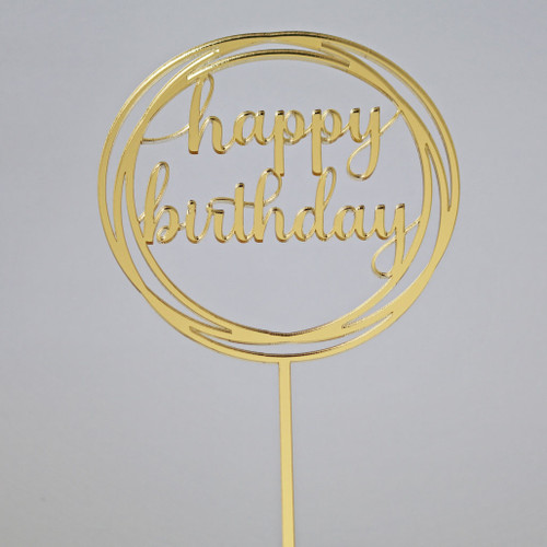 Gold Mirror Happy Birthday in Circle Cake Topper