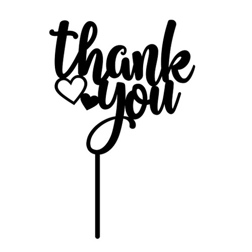 Thank You Cake Topper with Hearts