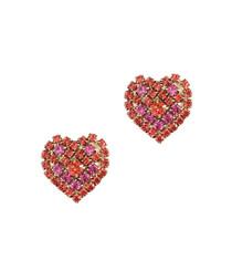 Maci Coral Rose Heart Studs