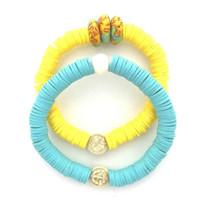 Yellow & Aqua Double Bracelet Stack