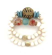 Aqua & Brass Bead Double Bracelet Stack