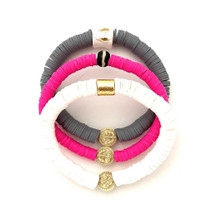 Pink, Grey, White Vinyl Triple Bracelet Stack