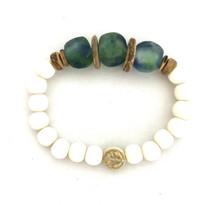 Blue Green Glass Single Bracelet