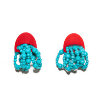 Turq Flame Jellyfish Pearl Earrings