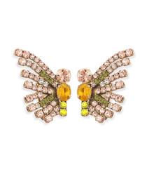 Callie Peach/Olive Butterfly Earrings