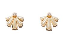 Scalloped Pearl Stud Earring