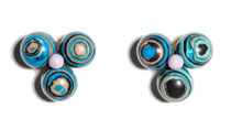Blue Agate Cactus Flower Button Earring