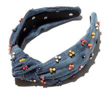 Cactus Flower Denim Headband