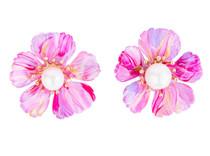 Marble Pink, Rose, Lavender Hand Painted Floral Stud