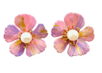 Marble Light Pink, Lavender, Gold Hand Painted Floral Stud