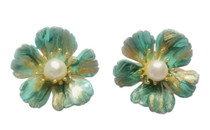 Marble Green and Gold Hand Painted Floral Stud