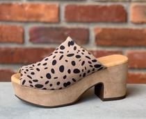 Garnnet Platform Slide - Leopard Suede