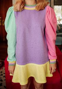 Rhinestone Puff Slv Dress