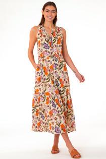 Ro Long Dress - Almond Fall Floral
