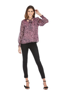 Tie Front Spotted Blouse