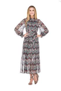 Gathers Neck Maxi Dress