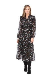 Tiered L/S Midi Dress