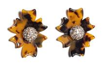 Tortoise Santa Fe Crystal Button Earrings